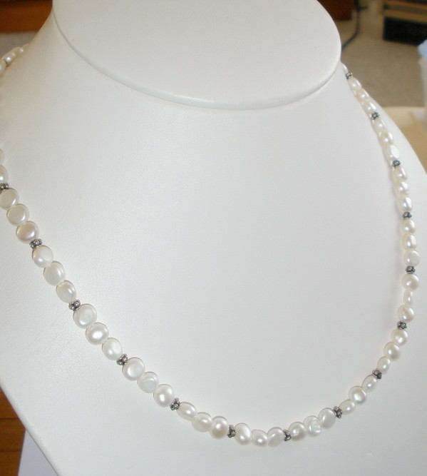 Luscious Long White Pearl Sterling Silver Decorative Necklace