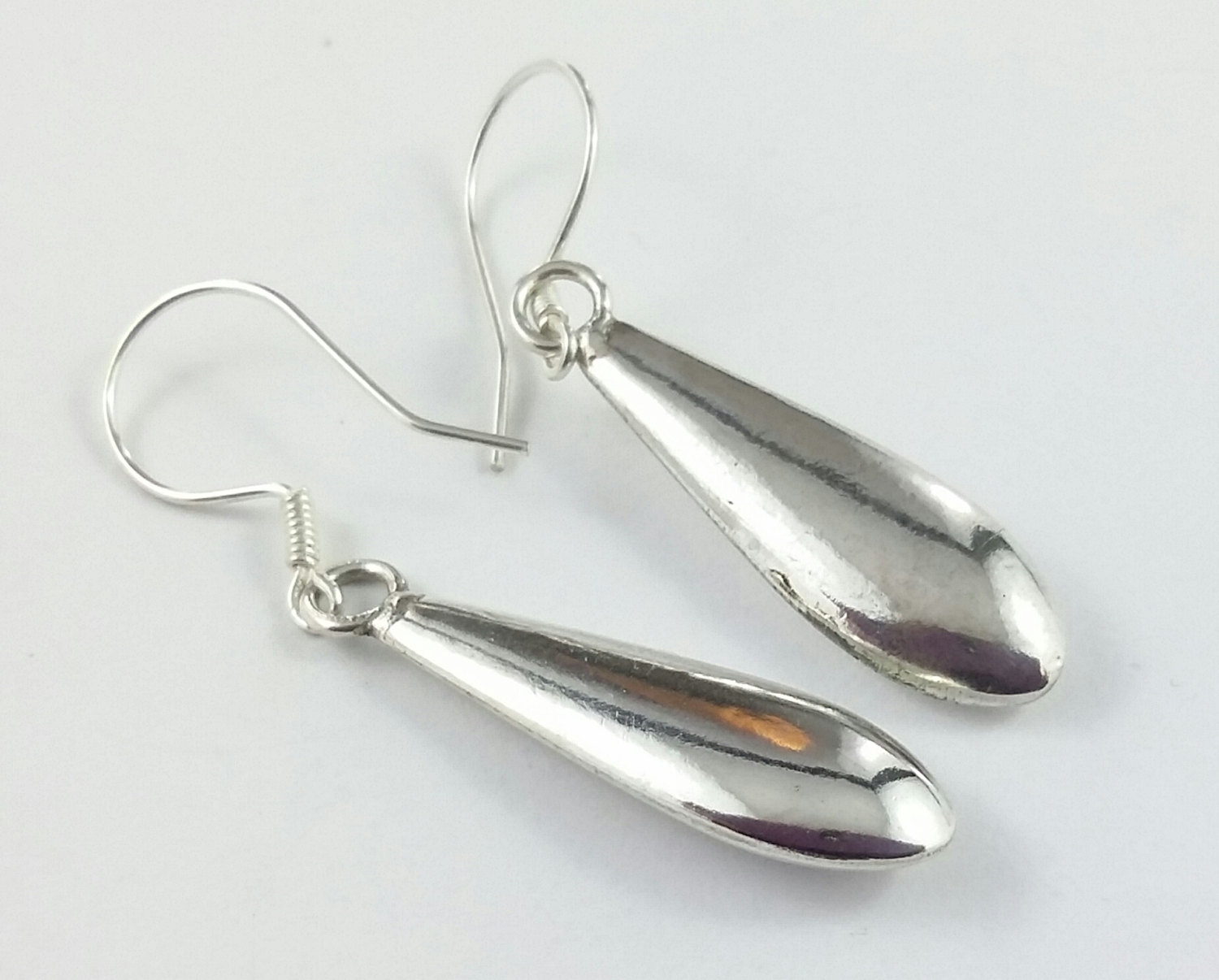 Shiny Sleek Sterling Silver Dagger Earrings Handmade Elegant Simple Modern Stylish Ear Hook Style Drop