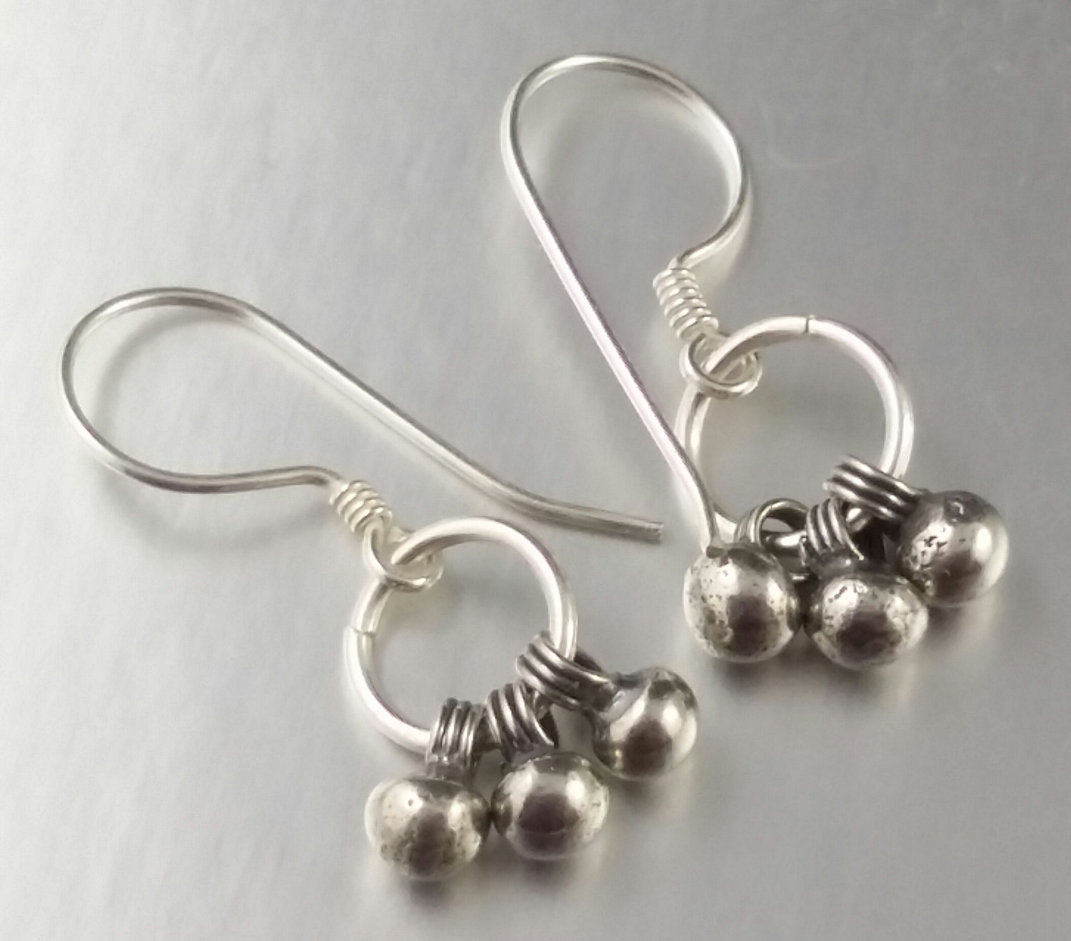 Sterling Silver Trio Wire Wrapped Short Length Dangly Earrings Ball ...