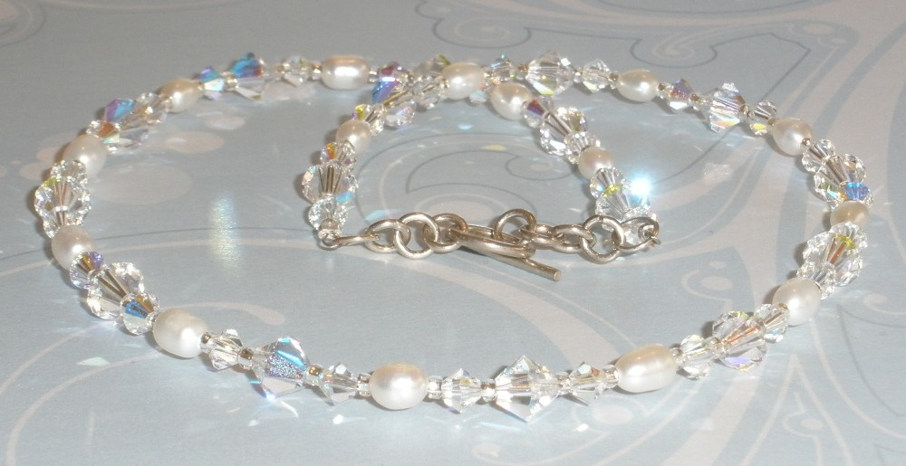 Stunning Swarovski Crystal AB White Freshwater Pearl Necklace Simple