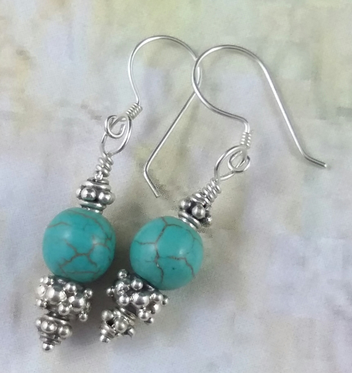 Turquoise Sterling Silver Decorative Handmade Earrings Green Blue Semi Precious Stones Gems Gemstone Dangle 925 Hook